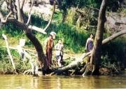 Burmesen sammeln Treibholz
